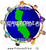 Clipart of a Children Holding Hands in a Ring Around a California Globe by Djart