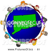 Clipart of a Children Holding Hands in a Ring Around a Connecticut Globe by Djart