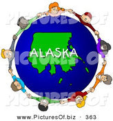 February 24th, 2013: Clipart of a Children Holding Hands in a Ring Around an Alaska Globe by Djart