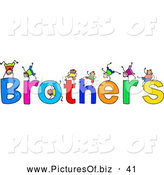 Clipart of a Children with BROTHERS Text on White by Prawny
