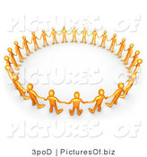 Clipart of a Circle of 3d Orange People by 3poD