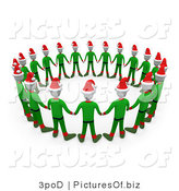 Clipart of a Circle of 3d Unity Christmas Elves by 3poD
