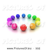 January 20th, 2013: Clipart of a Circle of Colorful Marbles on White by Frank Boston