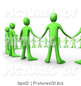 Clipart of a Circle of Green 3d Unity People by 3poD