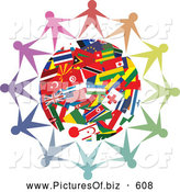 Clipart of a Circle of People Holding Hands Together Around a World Flag Globe by Prawny