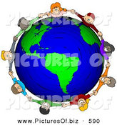 Clipart of a Circle of Worldwide Children Holding Hands Around a Globe of Earth by Djart