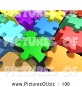September 22nd, 2013: Clipart of a Colorful Background of 3d Tall Colorful Puzzle Pieces with Space Between Them by 3poD