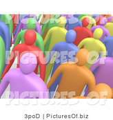 Clipart of a Crowd of Diverse 3d People by 3poD