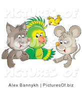 Clipart of a Cute Baby Wolf, Parrot, Yellow Bird and Mouse Chatting Together by Alex Bannykh