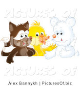 Clipart of a Cute Badger, Duck and White Bear Cub on White by Alex Bannykh