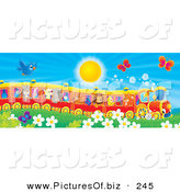 Clipart of a Cute Blue Bird and Butterflies Flying over Flowers near a Cat, Pig, Goat, Rhino, Squirrel, Lion, Chick and Fox on a Train on a Sunny Day by Alex Bannykh