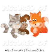 Clipart of a Cute Gray Cat, Puppy and Fox Chatting in a Group by Alex Bannykh