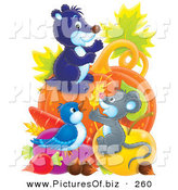 September 9th, 2012: Clipart of a Cute Gray Mouse, Gopher and Bird with an Abundant Amount of VeggiesCute Gray Mouse, Gopher and Bird with an Abundant Amount of Veggies by Alex Bannykh