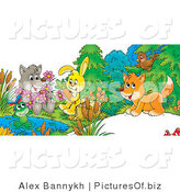 Clipart of a Cute Gray Wolf Holding Flowers, a Frog on a Lily Pad, Bunny Sitting on a Stump with a Carrot and Fox Chatting with a Bird by Alex Bannykh