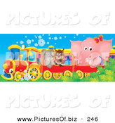 Clipart of a Cute Pink Elephant, Owl and Puppy Riding on a Train to the Left by Alex Bannykh