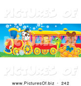 Clipart of a Cute Spotted Puppy Dog Driving a Train with a Bluebird, Hedgehog and Bear Riding, a Butterfly and Sea Turtle Watching It Pass by Alex Bannykh
