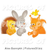 Clipart of a Cute Yellow Bird Flying over a Squirrel, Rabbit and Hedgehog Chatting at a Table by Alex Bannykh