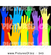 December 16th, 2012: Clipart of a Diverse and Colorful Group of Raised Hands on Solid Black by Prawny