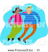Clipart of a Diverse Couple with Their Arms Around Each Other, on Blue by Prawny