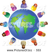 Clipart of a Diverse Globe Circled by Various Colorful People by Prawny