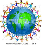 Clipart of a Diverse Group of Businessmen Holding Hands and Standing Around the World by Prawny