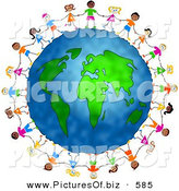 Clipart of a Diverse Group of Children Holding Hands and Standing Around the Globe by Prawny