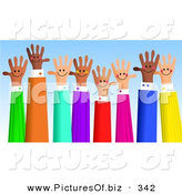 December 16th, 2012: Clipart of a Diverse Group of Handy Hands Waving on Blue by Prawny