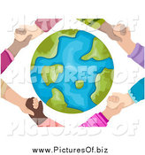 Clipart of a Diverse Hands Holding Each Other Around a Globe by BNP Design Studio