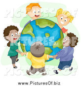 Clipart of a Diverse Happy Children Holding Hands and Standing Around Earth by BNP Design Studio