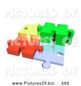 Clipart of a Four 3d Diverse Colored Puzzle Pieces Connected by MacX