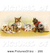 Clipart of a Four Cute Victorian Kittens in a Group, One Wearing a Red Bow by OldPixels