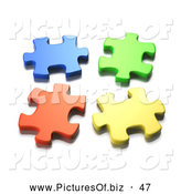 June 19th, 2013: Clipart of a Four Seperated 3d Blue, Green, Orange and Yellow Jigsaw Puzzle Pieces Coming Together by Tonis Pan