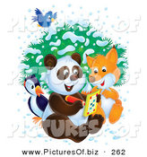 Clipart of a Friendly Bluebird Flying over a Bird, Fox and Panda As They Write in an Activity Book on a Wintry Day by Alex Bannykh