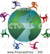 October 13th, 2013: Clipart of a Friendly Team of Businessmen Running Around a Globe by Prawny