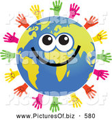 Clipart of a Global Face Character Surrouned by Helping Hands by Prawny