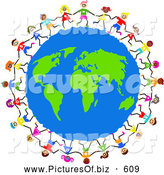 Clipart of a Global Kids Circling Earth Together by Prawny