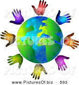 Clipart of a Globe Surrounded by Diverse Colored Hands by Prawny