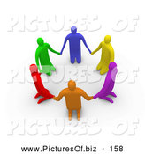 Clipart of a Group of 3d Colorful People on Their Knees in a Circle by 3poD