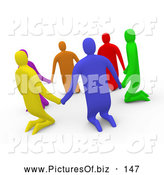 Clipart of a Group of 3d Diverse People Kneeling and Holding Hands in a Circle by 3poD