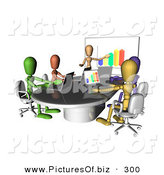 Clipart of a Group of and Colorful and Diverse Dummy Figures Using Laptops and a Bar Graph on a Board in a Meeting by AtStockIllustration