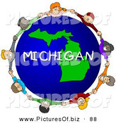 Clipart of a Group of Children Holding Hands in a Circle Around a Michigan Globe by Djart