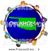 Clipart of a Group of Children Holding Hands in a Circle Around an Oklahoma Globe by Djart