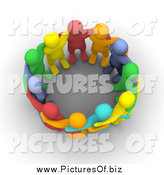 Clipart of a Group of Colorful 3d People Huddled in a Circle by Jiri Moucka