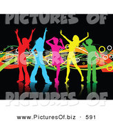 Clipart of a Group of Colorful Girl Silhouettes Dancing on Reflective Black by KJ Pargeter