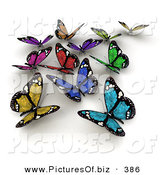 Clipart of a Group of Colorful Solar Panel Butterflies on White by Frank Boston