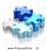 Clipart of a Group of Different Sized 3d Blue and White Puzzle Pieces by Tonis Pan