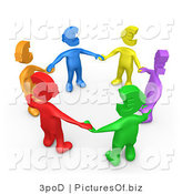 Clipart of a Group of Diverse Blue, Yellow, Purple, Green, Red and Orange People with Euro Heads, Standing in a Circle and Holding Hands with One Another by 3poD