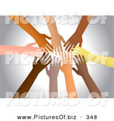 December 31st, 2012: Clipart of a Group of Diverse Hands Reaching in Together over Silver by Prawny