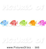 Clipart of a Group of Five Diverse Blue, Red, Green, Orange and Pink Fish by Prawny