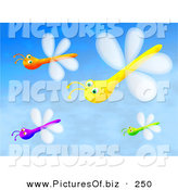 Clipart of a Group of Four Purple, Orange, Yellow and Green Dragonflies Flying in a Blue Sky by Prawny
